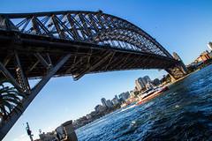 Sydney, Australia - April 7, 2017: Harbour bridge with a ferry going through it (AlfonsoFD) Tags: bluesky harbourbridge 2017 ocean parramatariver australia canon sydney sea ferry nsw dawespoint newsouthwales au