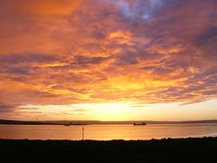 Sunset on Kirkwall bay (stuartcroy) Tags: orkney island bay sunset sunlight reflection beautiful scotland sea scenery sky sony