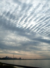 Ripples Over Toronto (Georgie_grrl) Tags: sky toronto ontario skyline clouds sunrise morningbikeride humberbay mydarkpinkside samsungd760