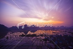 Paddy field (MPBHAIBO) Tags: china road cloud sun mountain reflection nature water fog sunrise landscape dawn spring highway shiny asia village rice paddy guilin yangshuo hill aerialview growth crop backlit sunbeam cloudscape ricepaddy stormcloud scenics mountainrange  vibrantcolor brightlylit   urbanscene  mountainpeak ruralscene  karstformation  travellocations guangxiregion