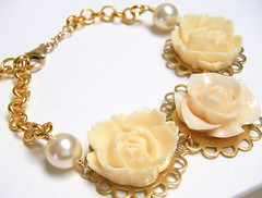 ivory gables bracelet (merryalchemy) Tags: wedding flower floral necklace country cream ivory jewelry bracelet pearl earrings chic bridal shabby