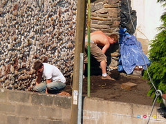 My Builders 1134 - Hunky Builder around the back with  a big chopper (marmaset) Tags: summer man male men home flesh yard work garden real outdoors back chopper workmen pants skin masculine bare chest cardiff gloves axe worker local rough straight build heterosexual trade mybackyard tanning canton builder alterations reallife contractors workie