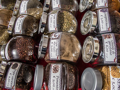 20130501 8047 Florence and Lucca (R H Kamen) Tags: italy food italia market herbs patterns lucca rows spices tuscany jars rhkamen