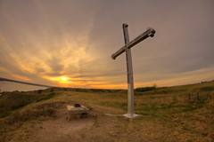 Cross on the Hill (Michael Squier) Tags: sunset landscape cross fisheye saskatchewan 8mm hdr bower lebret