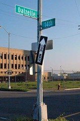 One Way to Urban Put-Put (muddyfur) Tags: urban home streetsign detroit puttputt trainstation oneway motown corktown motorcity rooseveltpark imaginationstation thed