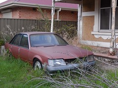 Stalled (mikecogh) Tags: overgrown grass car sedan weeds stuck veranda frontyard