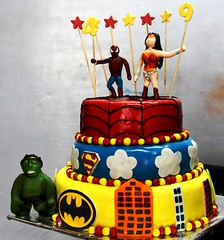 Super hero themed cake with sugar characters (the Baker & the School) Tags: birthday boy party girl cake kids children fun order bangalore creative spiderman celebration caramel organizer bakery online superhero buy theme form hulk themed fondant sugarcraft wwwcaramelbakeryin
