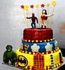 Super hero themed cake with sugar characters (the Baker & the School) Tags: birthday boy party girl cake kids children fun order bangalore creative spiderman celebration caramel organizer bakery online superhero buy theme form hulk themed fondant sugarcraft wwwcaramelbakeryin