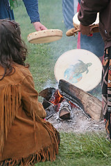 Fire Of The Turtle Clan (peterkelly) Tags: ontario canada digital fire log drum guelph jacket northamerica hillside buckskin hillsidefestival guelphlakeconservationarea 2013 turtleclan aboriginalcircle