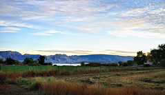 A Morning View of Split Mountain (thor_mark ) Tags: trees nature fog utah unitedstates farms blueskies day5 splitmountain project365 colorefexpro cloudsabove nikond90 thejenseninn