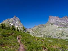 "Peak ""Bird"" 2221m at left. Peak ""Starlit"" 2265m on the right. (vitalibeam) Tags: sky mountains nature canon landscape eos russia hiking siberia       canonphotography 2013 650d  ergaki  krasnoyarskkrai"