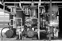 Gas plant (Andrew Tan 2011) Tags: china plant wheel lightbulb fan industrial pipes pipe hose gas machinery processing cylinder meter