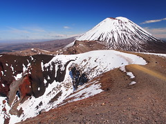 Red Crater and Mt Ngauruhoe (blue polaris) Tags: park new travel red newzealand snow landscape island volcano spring scenery mt crossing hiking walk plateau great north central olympus hike mount zealand alpine national crater tongarironationalpark northisland tongariro volcanic ngauruhoe tramping tramp omd em5 centralvolcanicplateau