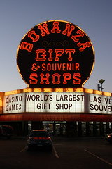 Bonanza (Flint Foto Factory) Tags: auto city autumn urban reflection fall car sign shop retail bulb vw night volkswagen souvenirs evening early store october automobile neon afternoon nocturnal lasvegas dusk parking nevada entrance lot front gift signage late jetta blvd worldslargest bonanza 2440 superlative 2013 saharaave slasvegas