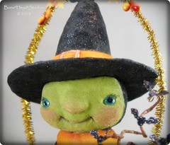 Cackle (Bone*Head*Studios) Tags: tree halloween leaves glitter gold folkart witch spooky tinsel artdoll glasseyes bats cardstock spuncotton autumnberries spuncottonornaments micapowder cottonbatting seambindingribbon spookytimejingles boneheadstudios foilbackglass