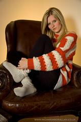 Shelbie 1 (Richard Amor Allan) Tags: winter portrait socks model chair warm sitting stripes flash indoor led blonde jersey jumper stripey armchair striped leggings flashgun
