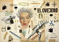 El Ovejero. Dibujo a tinta, collages y gouache sobre hojas de libros antiguos. 2013