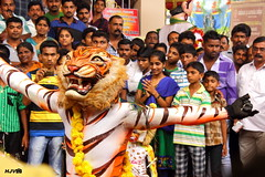 Mande Pili (Big-Headed Tiger) (harshithjv) Tags: festival canon religious temple photography cultural dasara mangalore indianfestival 600d dusshera dussara hulivesha tigerdance canon600d