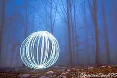Mystic Light Balls (christian speck) Tags: trees light lightpainting fog night forest 35mm outdoors schweiz switzerland suisse sony lausanne arbres lumiere nuit foret mystic sauvabelin rx1 brouyard