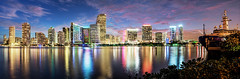 Miami Pano (Sky Noir) Tags: travel panorama skyline reflections photography cityscape miami citylights fl bluehour skynoir