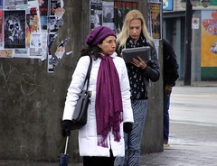 Raspberry Beret (knightbefore_99) Tags: street station vancouver corner scarf glasses bc purple candid raspberry skytrain beret commercialdrive eastvan thedrive
