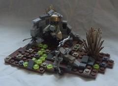 Across the Wastes (jgg3210) Tags: soldier war lego scout gasmask poison vignette patrol wanderer federation wasteland traveler minifigure moc feritas vaporboria