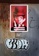 Bowler and Round Glasses (Karol A Olson) Tags: graffiti dc washington sticker decal bowler jan14 dapper ustreet stephencummings roundglasses