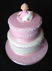 Christening Cake (Miss Apple's Sweets) Tags: baby cake christening bebe birminghamuk cakedecorating christeningcake sugarcraft sugarfigures bolobatizado missapplessweets