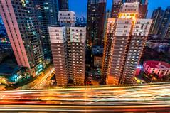 Auto Creek (Rob-Shanghai) Tags: china city urban colour night skyscraper hotel highway asia apartments cityscape shanghai traffic sony  yanan lightstream citynights nex6 sonynex6 e1018f4 nex6night