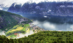 Fjord, Waterfall and Cruise Ship, Norway (Simon__X) Tags: ocean travel blue sea vacation sky panorama sun mountain holiday 3 seascape tree simon love beach nature water