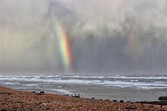 You can't have a rainbow.... (larigan.) Tags: sea beach rain weather clouds seaside rainbow waves shingle windy pebbles showers doublerainbow englishchannel lamanche breakwaters bexhillonsea whitehorses larigan phamilton