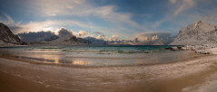 Panoramic view of Haukland Beach (Palnick) Tags: coast lofoten nature sea norway beach landscape haukland scandinavia ocean water arctic mountain seascape winter norwegian north fjord nordic scenic beauty beautiful island rock nordland scenery snow travel outdoors sunset sky uttakleiv blue sand village waves vestvagoy morning coastline light moskenesoy background skagsanden ramberg fishing summer norvegia town islands reflection bay ice cloudy