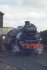 LMS Class 5MT 4-6-0 No. 45025 at Haworth shed, KWVR in March 1971 (Trains and trams eveywhere) Tags: lms britain br britishrailways trains steam locomotive england railways class 5br class5mt 460 black5 mickey railway haworth kvr