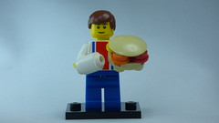 Brick Yourself Bespoke Custom Lego Figure Man with Big Burger and White Tube