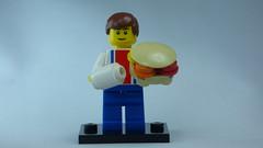 Brick Yourself Bespoke Custom Lego Figure Man with Big Burger and White Tube