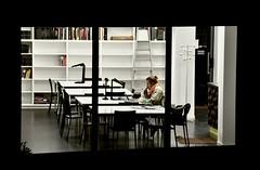 Still working. (Yvan S) Tags: school word studying night university sit computer girl woman library bibliothèque étude travail tard nuit université awake école paris nikon d90 femme blonde