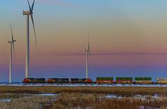Colorful Turbine Nova Scotia Sunrise (saintjohnrailfan) Tags: sunrise cnr canadiannationalrailway early morning sun colorfulsky amherst nova scotia turbines