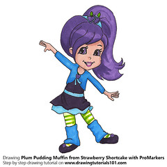 Plum Pudding Muffin from Strawberry Shortcake with ProMarkers (drawingtutorials101.com) Tags: plum pudding strawberry shortcake cartoon promarkers alcohol markers promarker color coloring draw drawing drawings timelapse video how sketch