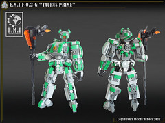 "E.M.I F-0.2-G ""TAURUS PRIME"" (Loysnuva) Tags: lego mech moc system melee ground leader military earth industries taurus prime mecha robot original loysnuva bionifigs green"