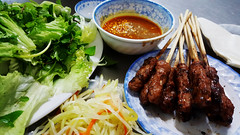 Self-assembly required (Roving I) Tags: ingredients food barbecue pork skewers greens vegetables vietnam vietnamesecuisine chili sauces danang dining restaurants