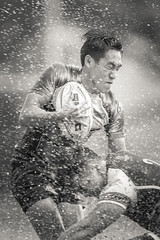 Rugby struggle with a splash [Explored] (BP Chua) Tags: rugby sport action monochrome people sportsman splash mud water tackle struggle canon 1dx 400mm blackandwhite