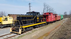 First train arrives in the Upper Yard (Rochester & Genesee Valley Railroad Museum) Tags: easterbunny eastertrain railroad train museum rochester newyork diesel