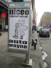 Niceo Wayne Auto Graffiti Art Calvin and Hobbs Comic Strip 4485 (Brechtbug) Tags: niceo wayne auto graffiti calvin hobbs newspaper comic strip characters art posters sidewalk phone booth 7th avenue near 34th street midtown nyc 2017 04172017 new york city profile design films movie funnies sunday papers bill watterson cartoonist tigre kid stuffed tiger st ave streets niceos criminal minded you been blinded guerilla ads cover manhattan culture jamming bombing since 1977 mass appeal reports same funny cartoon news paper cm