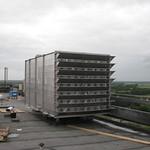 RVS Geluiddemper. Geschikt voor 100.000m³/h en voorzien van reinigbare coulissen
