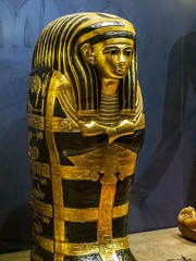 Miniature outer coffin with black resin and gold bands created for King Tutankhamun and Queen Ankhesenamun's newborn baby New Kingdom 18th Dynasty Egypt 1332-1323 BCE (mharrsch) Tags: gold pharaoh king ruler coffin newborn tutankhamun burial tomb funerary 18thdynasty newkingdom egypt 14thcenturybce ancient discoveryofkingtut exhibit new york mharrsch premier exhibits miniature gilded