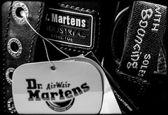 Dr Martens. . . (CWhatPhotos) Tags: black noir fine hair cell boot industrial 7 seven hole leather photograph pics pictures pic picture image images foto fotos photography artistic that which contain digital cwhatphotos photos photographs camera olympus tg4 tough close up icon 7a18 size 11 safety doc docs doctor marten martens air wair airwair bouncing soles original macro lace boots drmartens docmartens dms cushion sole yellow stitching dr comfort cushioned steel toe cap capped safe protective dm 10 label tags tag