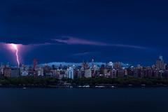 Manhattan Lightning (JaredNarber) Tags: storm lightning manhattan skyline newyorkcity newyork northbergen morning