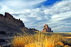 Shiprock (GeryLee) Tags: shiprock newmexico golden grass goldengrass landscape clouds sky shadows
