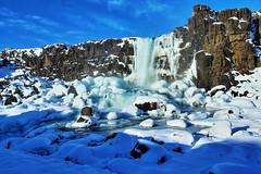 Oxararfoss (Albert Jafar) Tags: oxararfoss almannagjagorge thingvellirnationalpark waterfall iceland snow rocksgeology river photographerswharf fantasticnature ngc worldtrekker