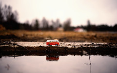 Road Trip (salas-3) Tags: landscape car auto toy orange water reflection light sky finland fineart vintage old spring photo photography photographer wallart noperson one semester road roadtrip